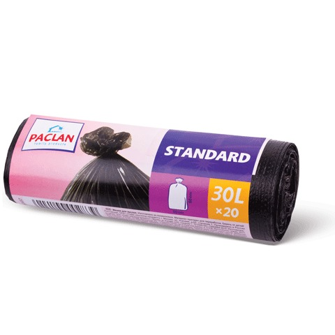 "Мешки для мусора, 30 л, PACLAN, комплект 20 шт., ""Standart"", рулон, ПНД, стандарт, 50х60 см, 7 мкм, черные"