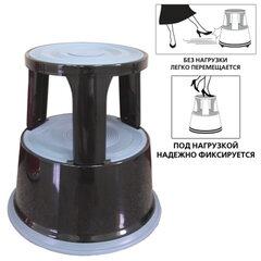 Лестница-тумба BRAUBERG (БРАУБЕРГ), 43 см, 2 ступени, передвижная, металлическая, вес 4,7 кг, черная