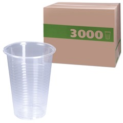 Одноразовые стаканы, комплект 3000 шт. (30 уп. по 100 шт.), пластиковые, 0,2 л, прозрачные, ПП, для холодного/горячего