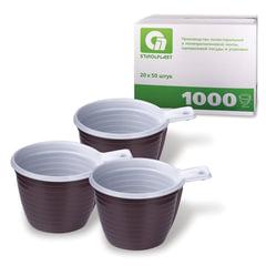 Одноразовые чашки, комплект 1000 шт. (20 уп. по 50), пластиковые, 180 мл, бело-коричневые, ПП, шк 0001, СТИРОЛПЛАСТ