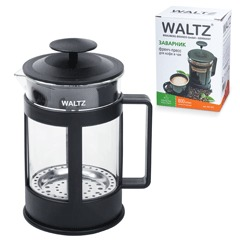 "Заварник (френч-пресс) WALTZ / ЛАЙМА ""Утро"", 800 мл, жаропрочное стекло/пластик, черный"