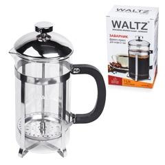 """Заварник (френч-пресс) WALTZ / ЛАЙМА """"Классик"""", 1 л, жаропрочное стекло/пластик/нержавеющая сталь + пластиковая ложка"""