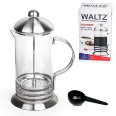 """Заварник (френч-пресс) WALTZ / ЛАЙМА """"Элит"""", 1 л, жаропрочное стекло/нержавеющая сталь + пластиковая ложка"""