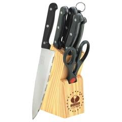 Ножи кухонные BEKKER, набор 7 шт. + деревянная подставка, нержавеющая сталь, красочная упаковка