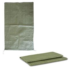 Мешки полипропиленовые до 50 кг, комплект 100 шт., 95х55 см, вес 47 г, для строительного/бытового мусора, зеленые