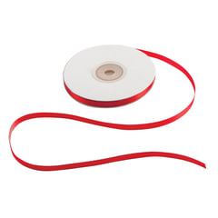 Лента обвязочная атласная для прошивки документов, ширина 6 мм, 4х25 м (100 м), +/- 5%, красная