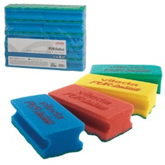 """Губки VILEDA """"ПрофиПурАктив"""", комплект 10 шт., для твердых поверхностей, голубые, 6х14 см"""