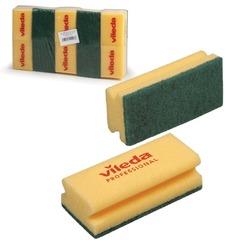 """Губки VILEDA """"Виледа"""", комплект 10 шт., для любых поверхностей, зеленый абразив, желтые, 7х9,5 см"""