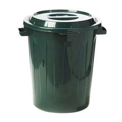 Контейнер 90 литров для мусора, БАК+КРЫШКА (высота 64 см х диаметр 60 см), зеленый, IDEA
