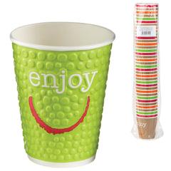 """Одноразовые стаканы """"Хухтамаки"""", комплект 37 шт., бумажные двухслойные, 200 мл, """"Enjoy"""", цветная печать, для холодного/горячего"""