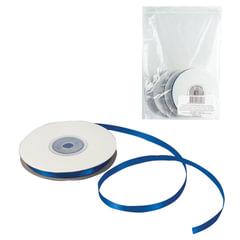 Лента обвязочная атласная для прошивки документов, ширина 6 мм, 4х25 м (100 м), +/- 5%, синяя