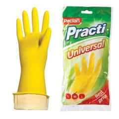 """Перчатки хозяйственные резиновые PACLAN """"Universal"""", с х/б напылением, размер M (средний), желтые"""