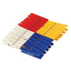 Прищепки бельевые, комплект 24 шт., универсальные, пластиковые, цвет ассорти, IDEA