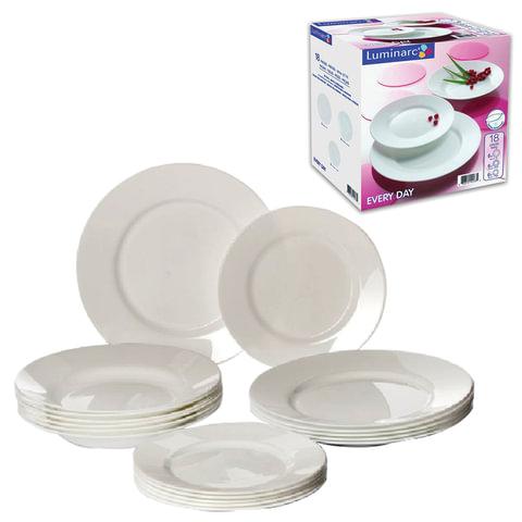 """Набор посуды столовый """"Everyday"""", 18 предметов, белое стекло, LUMINARC"""