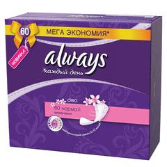 """Прокладки женские гигиенические на каждый день ALWAYS (Олвейз) """"Normal"""", 60 шт., ароматизированные"""