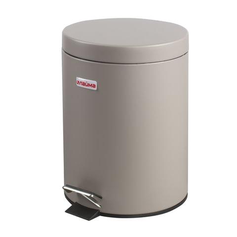 Ведро-контейнер для мусора с педалью ЛАЙМА, 5 л, матовое, цвет серый