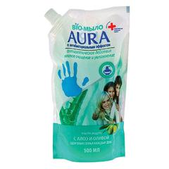 """Мыло-крем жидкое 500 мл, AURA BIO, антибактериальное, """"Сок алое"""", упаковка дой-пак, для дозаторов"""