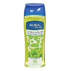 """Гель для душа 260 мл, AURA, освежающий, защищает и увлажняет кожу, """"Экстракт зеленого чая и мяты"""""""