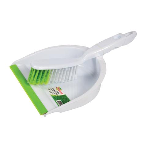 Совок для мусора ЛЮБАША со щеткой-сметкой, пластик, резиновая кромка