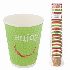 """Одноразовые стаканы """"Хухтамаки"""", комплект 37 шт., бумажные двухслойные, 300 мл, """"Enjoy"""", цветная печать, для холодного/горячего"""