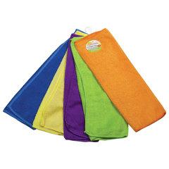 Салфетки универсальные, КОМПЛЕКТ 5 шт., микрофибра, 30х30 см (фиолетовая, синяя, желтая, зеленая, оранжевая), ЛЮБАША