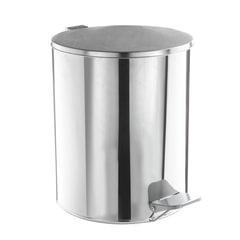 Ведро-контейнер для мусора с педалью УСИЛЕННОЕ, 15 л, кольцо под мешок, хром, нержавеющая сталь