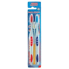 """Зубные щетки DR.CLEAN """"lexus"""" (Доктор Клин, Лексус), комплект 3 шт., 2 взрослые + 1 детская, средняя"""