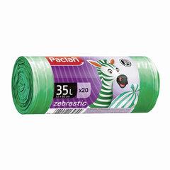 "Мешки для мусора, 35 л, комплект 20 шт., рулон, ПНД, 53х60 см, 12 мкм, бело-зеленые, PACLAN ""Zebrastic"""