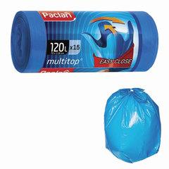 "Мешки для мусора, 120 л, комплект 15 шт., рулон, ПВД, 70х118 см, 24 мкм, с ушками, синие, PACLAN ""Multitop"""