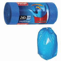"Мешки для мусора, 240 л, комплект 10 шт., рулон, ПВД, 90х145 см, 40 мкм, с ушками, синие, PACLAN ""Multitop"""