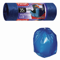 "Мешки для мусора, 35 л, комплект 20 шт., рулон, ПВД, 60х81см, 25 мкм, с ушками, синие, PACLAN ""Multitop Lux"""