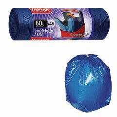 "Мешки для мусора, 60 л, комплект 16 шт., рулон, ПВД, 60х75 см, 30 мкм, с ушками, синие, PACLAN ""Multitop Lux"""