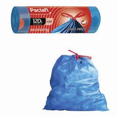 """Мешки для мусора, 120 л, комплект 10 шт., рулон, ПВД, 70х100 см, 21 мкм, с завязками, синие, PACLAN """"Economy"""""""