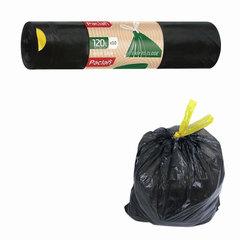 "Мешки для мусора, 120 л, комплект 10 шт., рулон, ПВД, 70х100 см, 30 мкм, с завязками, черные, PACLAN ""Eco Line"""