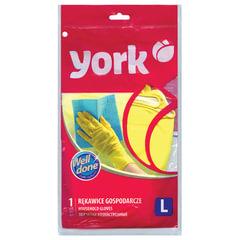 Перчатки хозяйственные резиновые YORK, суперплотные, с х/б напылением, рифленая ладонь, размер L (большой)