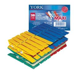 """Прищепки бельевые пластиковые, комплект 20 шт., увеличенные, универсальные, цвет ассорти, YORK """"Maxi"""""""