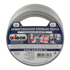 Клейкая лента армированная, 48 мм х 10 м, UNIBOB, основа-х/б ткань, прочная, европодвес