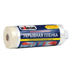 Пленка укрывная 1,1 м х 33 м, с малярной лентой (для крепления к поверхности), полиэтилен, UNIBOB