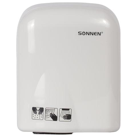 Сушилка для рук SONNEN HD-165, 1650 Вт, скорость потока 16 м/с, пластик, белая