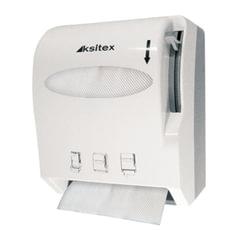 Диспенсер для полотенец в рулонах KSITEX, бесконтактный, с ручным обрезанием бумаги, белый, AC1-13W