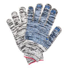 Перчатки хлопчатобумажные 7 класс, 60-62 г, 216 текс, ПВХ-точка, комплект 5 пар, ЛАЙМА ПРОФИ, меланж