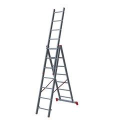 Лестница 7 ступеней, секционная, 3х1,88 м, высота 4,5 м, нагрузка 150 кг, алюминиевая, вес 8,8 кг
