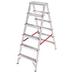 Лестница 6 ступеней (широкие), 2-х стороняя, высота 1,3 м, нагрузка 225 кг, алюминиевая, вес 6,3 кг