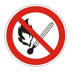 """Знак запрещающий """"Запрещается пользоваться открытым огнем и курить"""", круг, диаметр 200мм, самоклейка"""