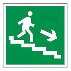 "Знак эвакуационный ""Направление к эвакуационному выходу по лестнице НАПРАВО вниз"", квадрат 200х200мм"