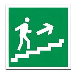 """Знак эвакуационный """"Направление к эвакуационному выходу по лестнице НАПРАВО вверх"""", квадрат"""