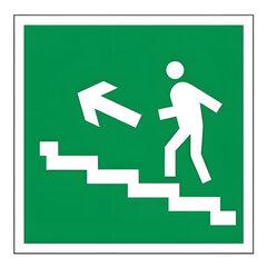 """Знак эвакуационный """"Направление к эвакуационному выходу по лестнице НАЛЕВО вверх"""", квадрат"""