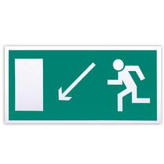 """Знак эвакуационный """"Направление к эвакуационному выходу налево вниз"""", 300х150 мм, самоклейка"""