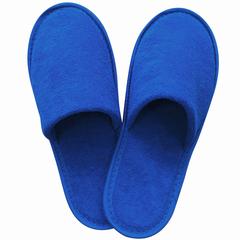Тапочки махровые закрытые премиум, 230 г/м2, подошва эва, 5 мм, размер 38-42, синие, полибэг+стикер