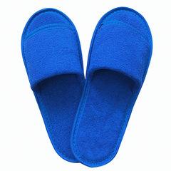 Тапочки махровые открытые премиум, 230 г/м2, подошва эва, 5 мм, размер 38-42, синие, полибэг+стикер